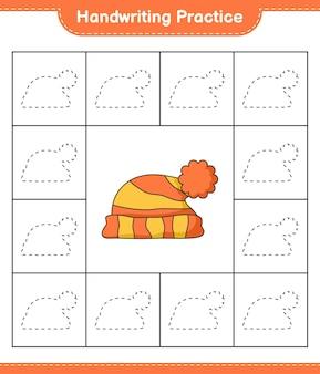 Handschriftoefening lijnen van hoed traceren educatief kinderspel afdrukbaar werkblad