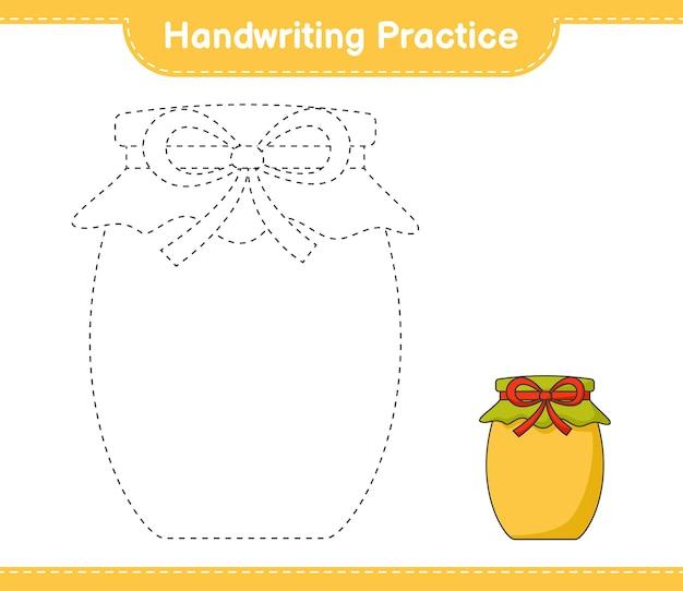 Handschriftoefening lijnen van jam traceren educatief kinderspel afdrukbaar werkblad