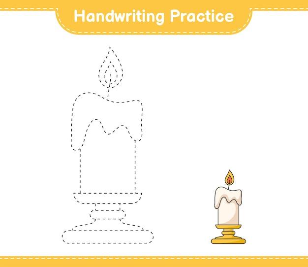 Handschriftoefening lijnen van kaars traceren educatief kinderspel afdrukbaar werkblad
