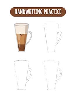 Handschriftoefening lijnen van koffie educatief kinderen oefenspel schrijven