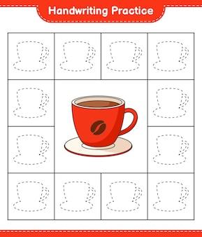 Handschriftoefening lijnen van koffiekopje traceren educatief kinderspel afdrukbaar werkblad