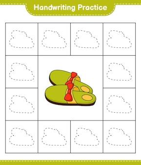 Handschriftoefening lijnen van pantoffels traceren educatief kinderspel afdrukbaar werkblad