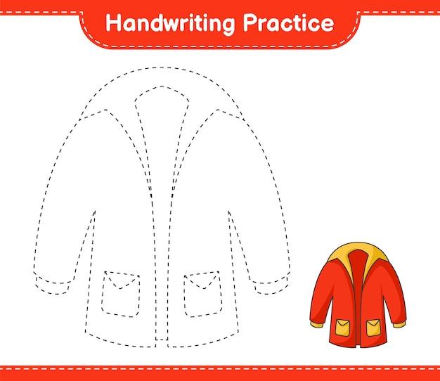 Handschriftoefening lijnen van warme kleren traceren educatief kinderspel afdrukbaar werkblad