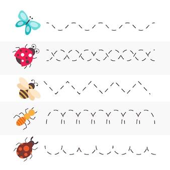 Handschriftoefening met insecten