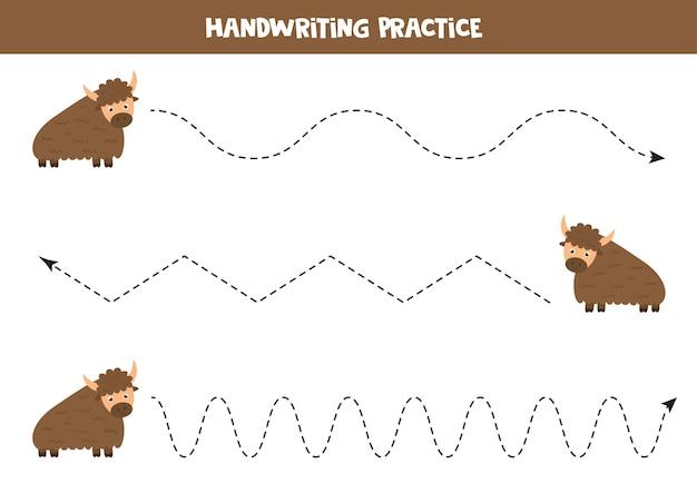 Handschriftoefening met schattige cartoon jak. educatief spel voor kinderen. werkblad schrijven voor kleuters.