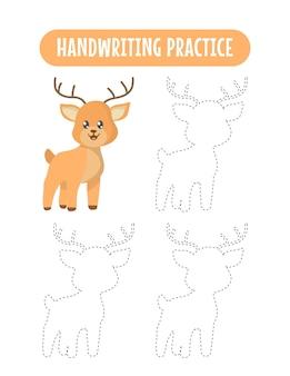 Handschriftoefening om lijnen van herten te volgen, educatieve kinderen, schrijfoefenspel