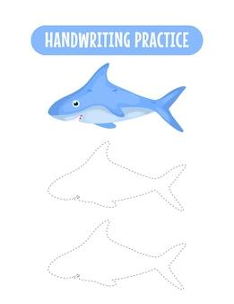 Handschriftoefening om lijnen van zeedieren te traceren educatief kinderen oefenspel voor schrijven