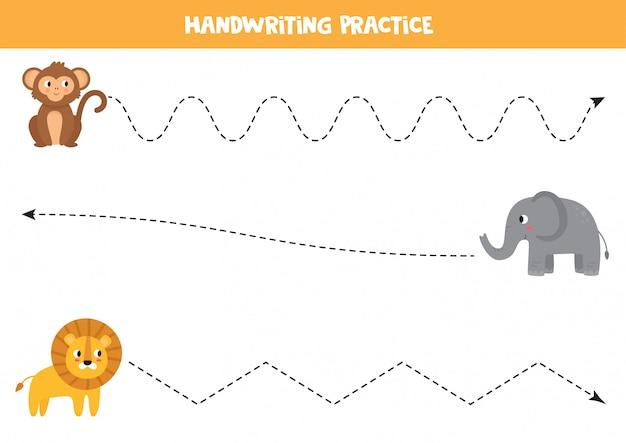 Handschriftoefening voor kinderen. het opsporen van afrikaanse dieren.