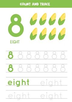 Handschriftoefening voor kinderen. nummer acht. cartoon maïskolven.