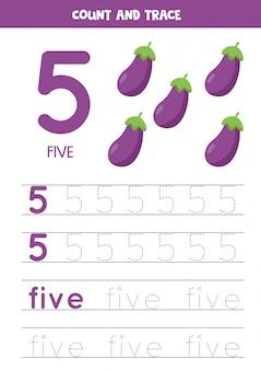 Handschriftoefening voor kinderen. nummer vijf. cartoon aubergines.