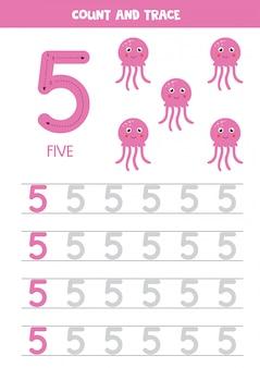 Handschriftoefening voor kinderen. nummer vijf. cartoon roze kwallen.