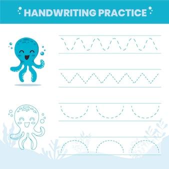 Handschriftoefening voor kinderen Gratis Vector