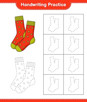 Handschriftoefeningen lijnen van sokken traceren educatief kinderspel afdrukbaar werkblad