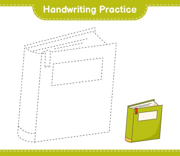 Handschriftoefeningen traceren van boeklijnen educatief kinderspel afdrukbaar werkblad