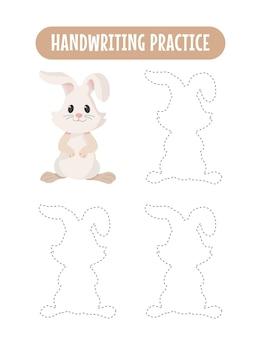Handschriftoefeningen traceren van konijneneducatieve kinderen die oefenspelletjes schrijven