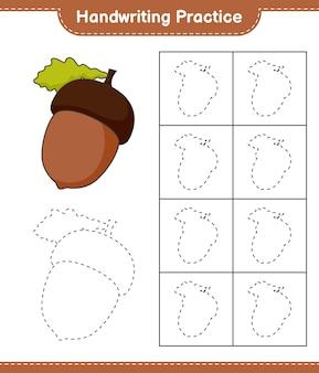 Handschriftoefeningen traceren van lijnen van acorn educatief kinderspel afdrukbaar werkblad