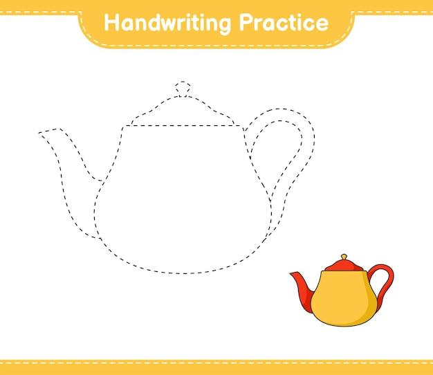 Handschriftoefeningen traceren van lijnen van theepot educatief kinderspel afdrukbaar werkblad