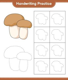 Handschriftoefeningen traceren van paddestoelen boletus educatief kinderspel