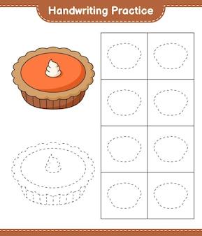 Handschriftoefeningen tracing lines of pie educatief werkblad voor kinderen om af te drukken