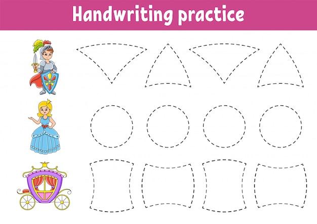 Handschriftpactice. onderwijs ontwikkelen werkblad. activiteitspagina.