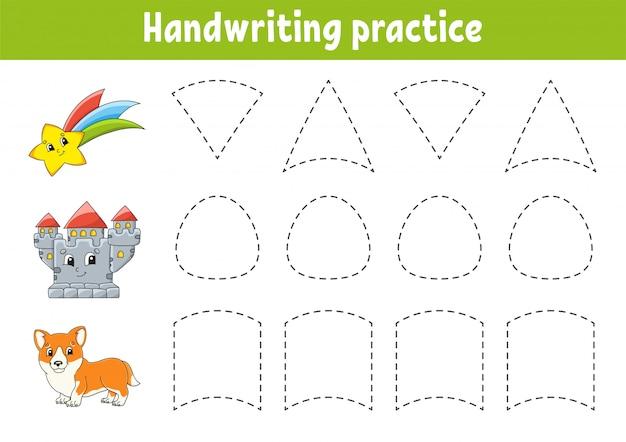 Handschriftpactice. onderwijs ontwikkelen werkblad.