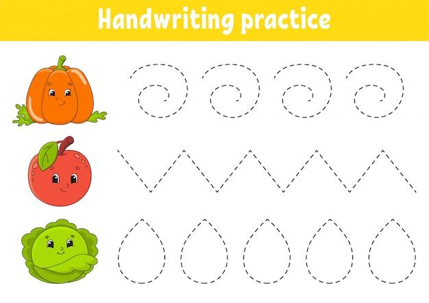 Handschriftpactice. werkblad voor het ontwikkelen van onderwijs.
