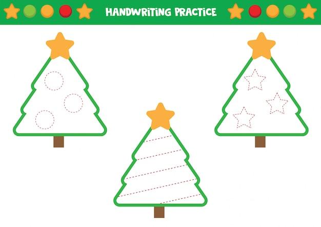 Handschriftpraktijk met kerstbomen. trek de lijnen over.