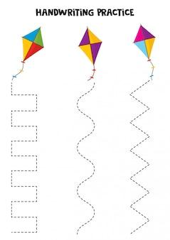 Handschriftpraktijk met kleurrijke vliegers.
