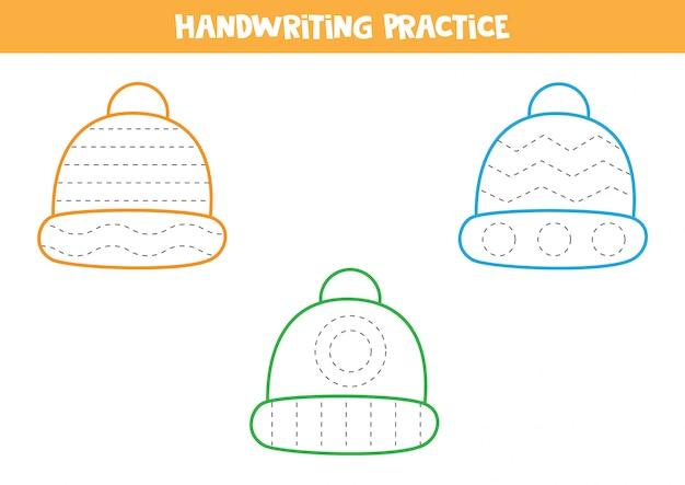 Handschriftpraktijk met kleurrijke wintermutsen.