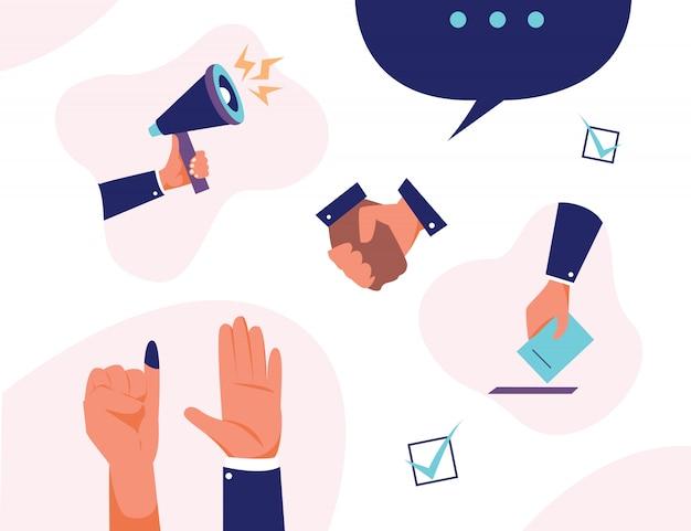 Handset stem democratie presidentsverkiezingen verkiezing politieke president, gouverneur of parlement