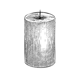 Handsketched aromatische kaars illustratie tekening van paraffine kaarsen