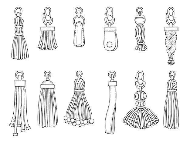 Handtassen accessoires. leer textiel technicus knoop trinket draden modeartikelen vectorillustraties. lederen accessoire hanger geïsoleerde hand tekenen