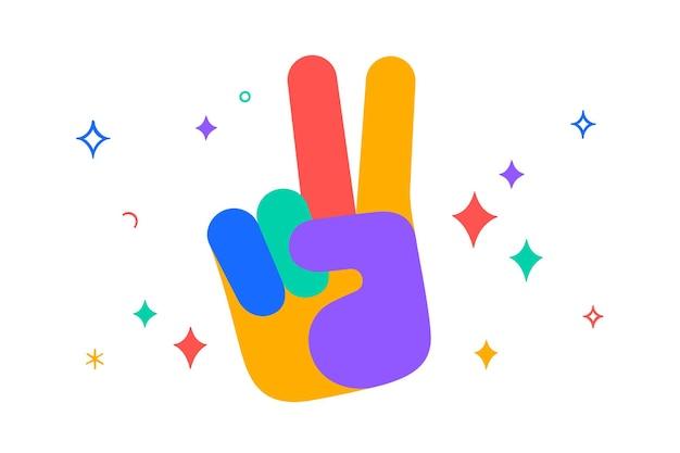 Handteken overwinning of vrede. kleurrijke leuke sticker