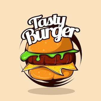 Handtekening smakelijke hamburger vectorillustratie