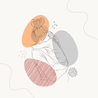 Handtekening van moeder die haar kind knuffelt met behulp van lijnkunststijl