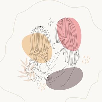Handtekening van moeder die haar kind vasthoudt met behulp van lijnkunststijl