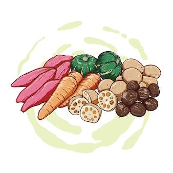 Handtekening van zoete aardappelen, aardappelen, pompoen en wortelen