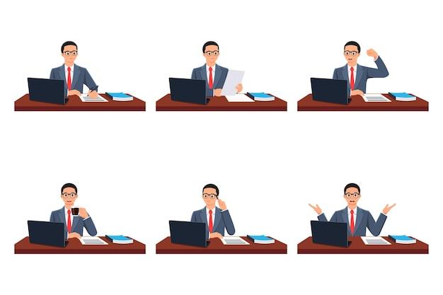 Handtekeningbestand controleren gelukkige man drink koffie denk vraag herenuitdrukkingen op het werk
