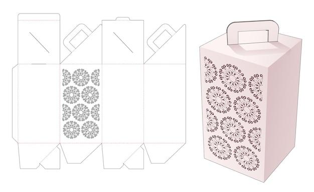 Handvat hoge doos met gestencilde mandala gestanste sjabloon