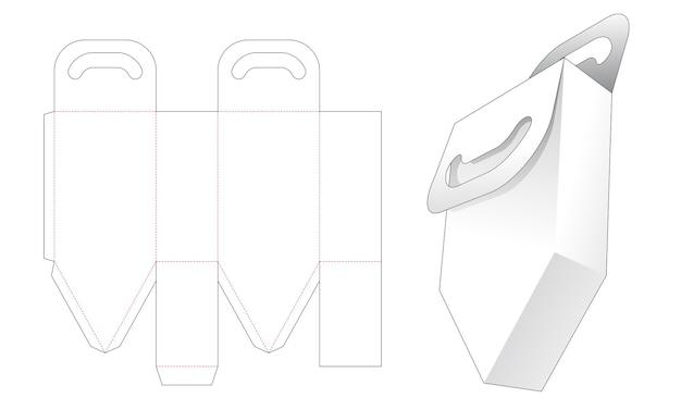 Handvat onderaan de afgeschuinde zak gestanst sjabloon Premium Vector