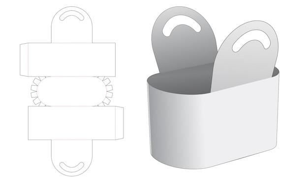 Handvat ronde zak gestanst sjabloon Premium Vector