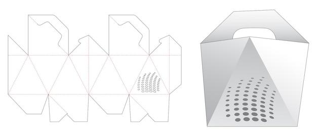 Handvat schuine kant met gestencild lijnpatroon gestanst sjabloon