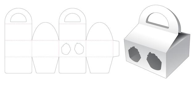 Handvatdoos met cupcake-vormig venster gestanst sjabloon