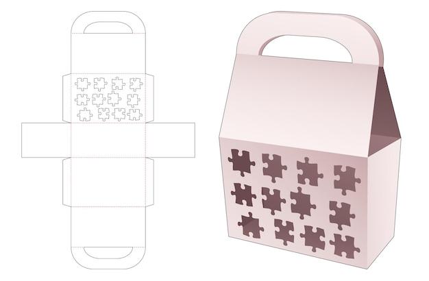 Handvatzakdoos met gesjabloneerde 12 puzzelstukjes gestanste sjabloon
