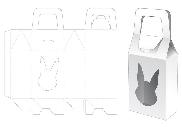 Handvatzakdoos met gestanst sjabloon in de vorm van een konijn Premium Vector