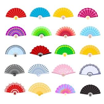 Handventilator vector traditionele japanse accessoire en chinese decoratie vouwen handheld-fan illustratie set