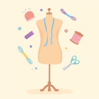 Handwerk kleding etalagepop met meetlint schaar en garen strengen illustratie