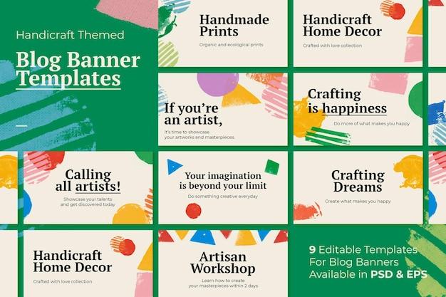 Handwerk thema banner sjabloon vector met blok print achtergrond set
