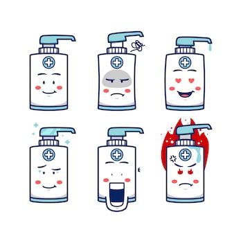 Handzeep ontsmettingsmascotte karakter met expressie glimlach, boos, boos, liefde, verbaasd, boos en fronsend in cartoon afbeelding