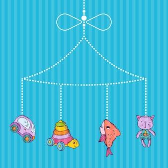 Hangend handgetekend kinderspeelgoed op gestreepte blauwe bacgkround